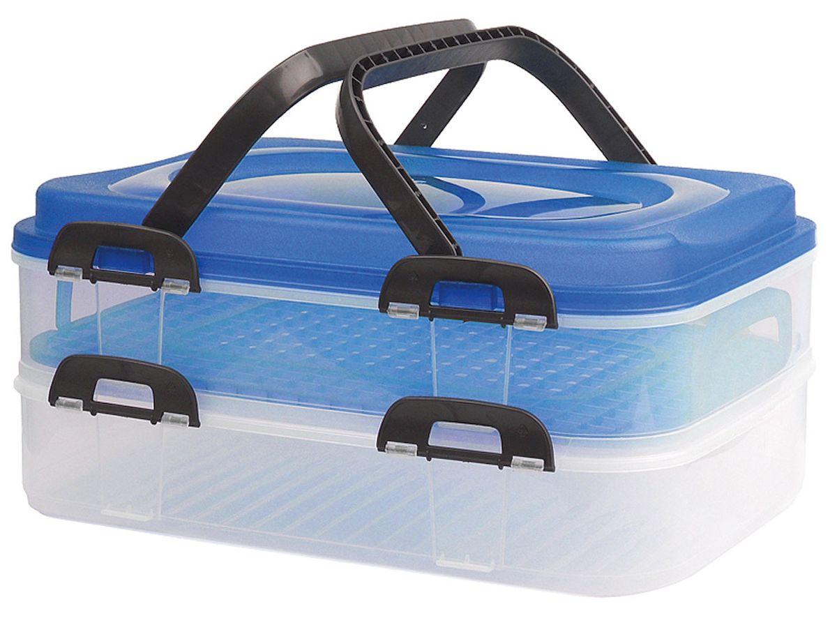 Набор контейнеров Axentia Бокс-сет, цвет: синий, прозрачный, 2 шт116833Набор Axentia Бокс-сет, изготовленный из высококачественного пластика, состоит из 2 пищевых контейнеров. Изделия оснащены крышками с застежками и удобными ручками. Идеально подходят для бизнес ланчей.