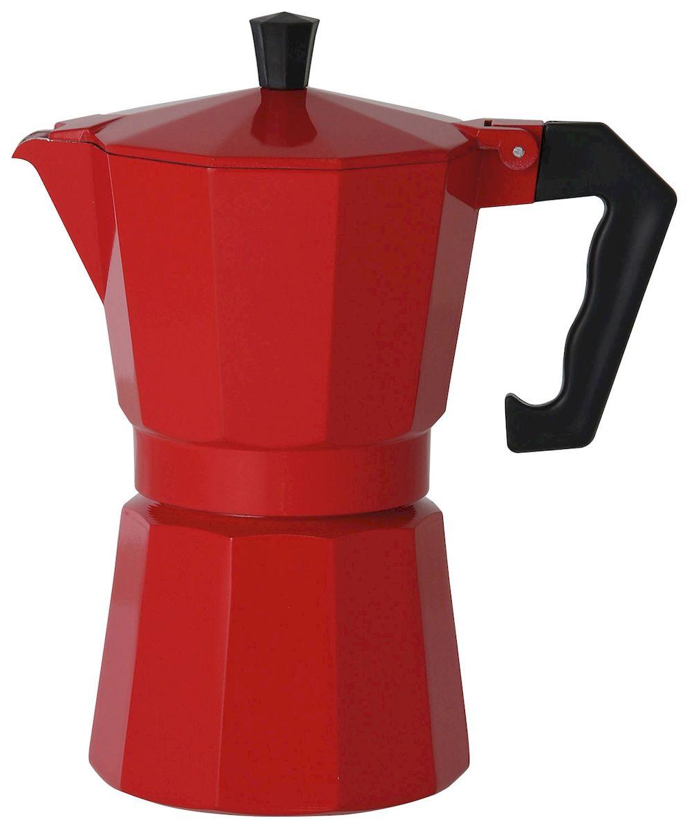 Кофеварка Axentia для Espresso, цвет: красный, на 6 чашек122247Гейзерная кофеварка Axentia позволит вам приготовить ароматный кофе Espresso на 6 персон. Корпус кофеварки изготовлен из высококачественного литого алюминия. Кофеварка состоит из двух соединенных между собой емкостей и снабжена алюминиевым фильтром-перколятором, который сохраняет аромат кофе.Данная модель предельно проста в использовании, в ней отсутствуют подвижные части и нагревательные элементы, поэтому в ней нечему ломаться. Гейзерные кофеварки являются самыми популярными в мире и позволяют приготовить ароматный кофе за считанные минуты. Основной принцип действия гейзерной кофеварки состоит в том, что напиток заваривается путем прохождения горячей воды через слой молотого кофе. В нижнюю часть гейзерной кофеварки заливается вода, в промежуточную часть засыпается молотый кофе, кофеварка ставится на огонь или электрическую плиту. Закипая, вода начинает испаряться и превращается в пар. Избыточное давление пара в нижней части кофеварки выдавливает горячую воду через молотый кофе и подобно небольшому гейзеру попадает в верхний отсек, где и собирается в готовый кофе. Время приготовления в гейзерной кофеварке составляет примерно 5 минут. Кофеварку можно использовать на всех типах плит, кроме индукционных.