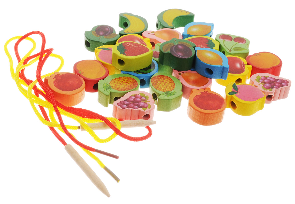 Развивающие деревянные игрушки Шнуровка Бусы Фрукты РДИ-042-2а