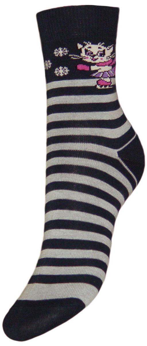 Носки детские Гранд, цвет: темно-синий, серый, 2 пары. YCL17. Размер 16/18YCL17Детские носки выполнены из высококачественного хлопка. Носки с текстурным рисунком по носку полоски, на паголенке кошечка в коньках хорошо держат форму и обладают повышенной воздухопроницаемостью, имеют безупречный внешний вид, после стирки не меняют цвет, усилены пятка и мысок для повышенной износостойкости, функция отвода влаги позволяет сохранить ноги сухими, благодаря свойствам эластана, не теряют первоначальный вид.Компания Гранд использует только натуральные волокна для изготовления детских носков по всем требованиям медицинских стандартов, что не наносит вреда детской коже.