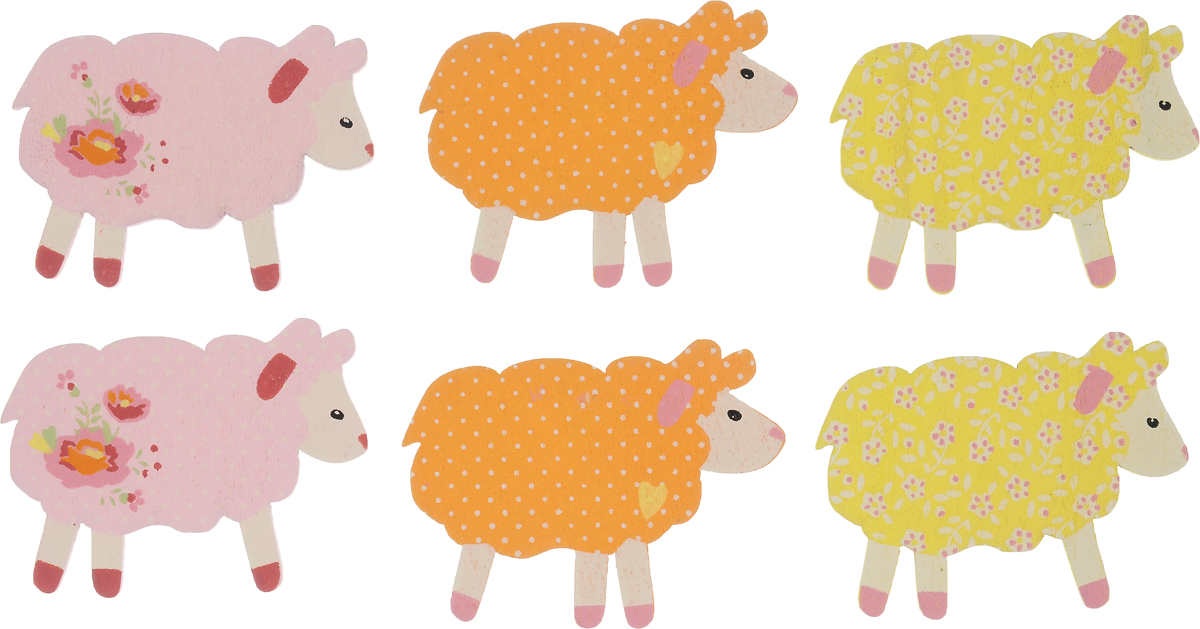 """Набор Hobby Time """"Овечки"""", изготовленный из дерева, предназначен для  декорирования. Изделия могут пригодиться в оформлении одежды, предметов интерьера, подарков, цветочных  букетов, а также в скрапбукинге. Набор выполнен в  виде ярких овечек.  Размер элемента: 5 х 3,5 см. Комплектация: 6 шт."""