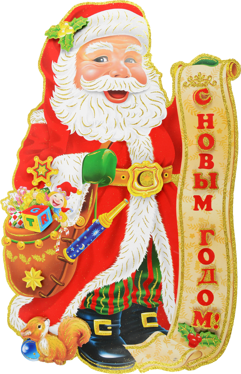 Украшение новогоднее Winter Wings Дед Мороз в шубе, настенное, 50 х 86,5 см, 2 шт украшение новогоднее настенное win max дед мороз 31 х 56 см