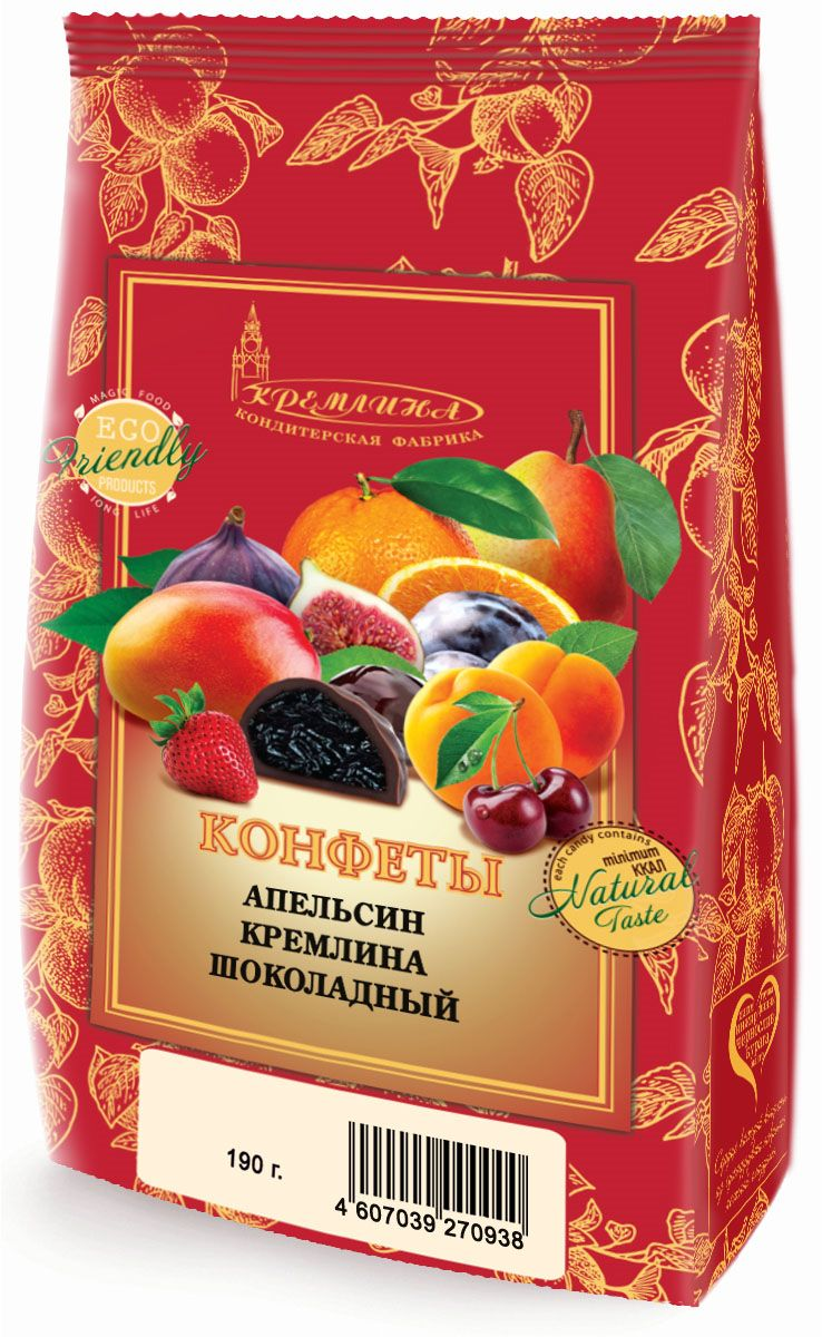 Кремлина Апельсин в шоколаде, 190 г кремлина ассорти фрукты и орехи в шоколаде 250 г