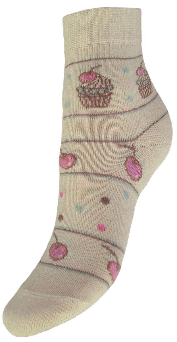 Носки детские Гранд, цвет: кремовый, 2 пары. YCL45. Размер 18/20YCL45Детские носки выполнены из высококачественного хлопка, предназначены для повседневной носки. Носки с текстурным рисунком по всему носку пирожное с вишней имеют бесшовную технологию зашивки мыска (кеттельный шов), безупречный внешний вид, хорошо держат форму и обладают повышенной воздухопроницаемостью, после стирки не меняют цвет, усилены пятка и мысок. За счет добавленной лайкры в пряжу, повышена эластичность и срок службы изделия.Носки долгое время сохраняют форму и цвет, а так же обладают антибактериальными и терморегулирующими свойствами.