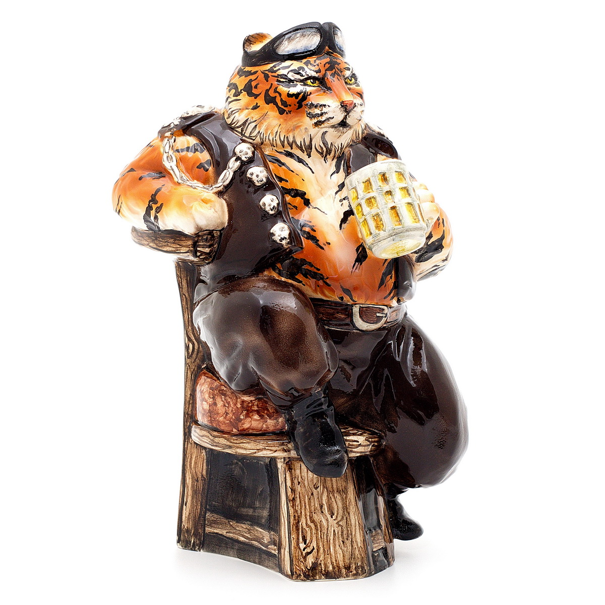 """Керамическая статуэтка """"Тигр байкер"""". ZORA. Россия. Керамика Zora, ручная работа, ручная роспись, несколько обжигов, смешанная техника глазури. Размер: 28 х 18 см. Сохранность хорошая. Отличный подарок для мужчины! Брутальный тигр - любитель пива и гонок. Эта статуэтка вызовет улыбку, поднимет настроение и украсит любой интерьер."""