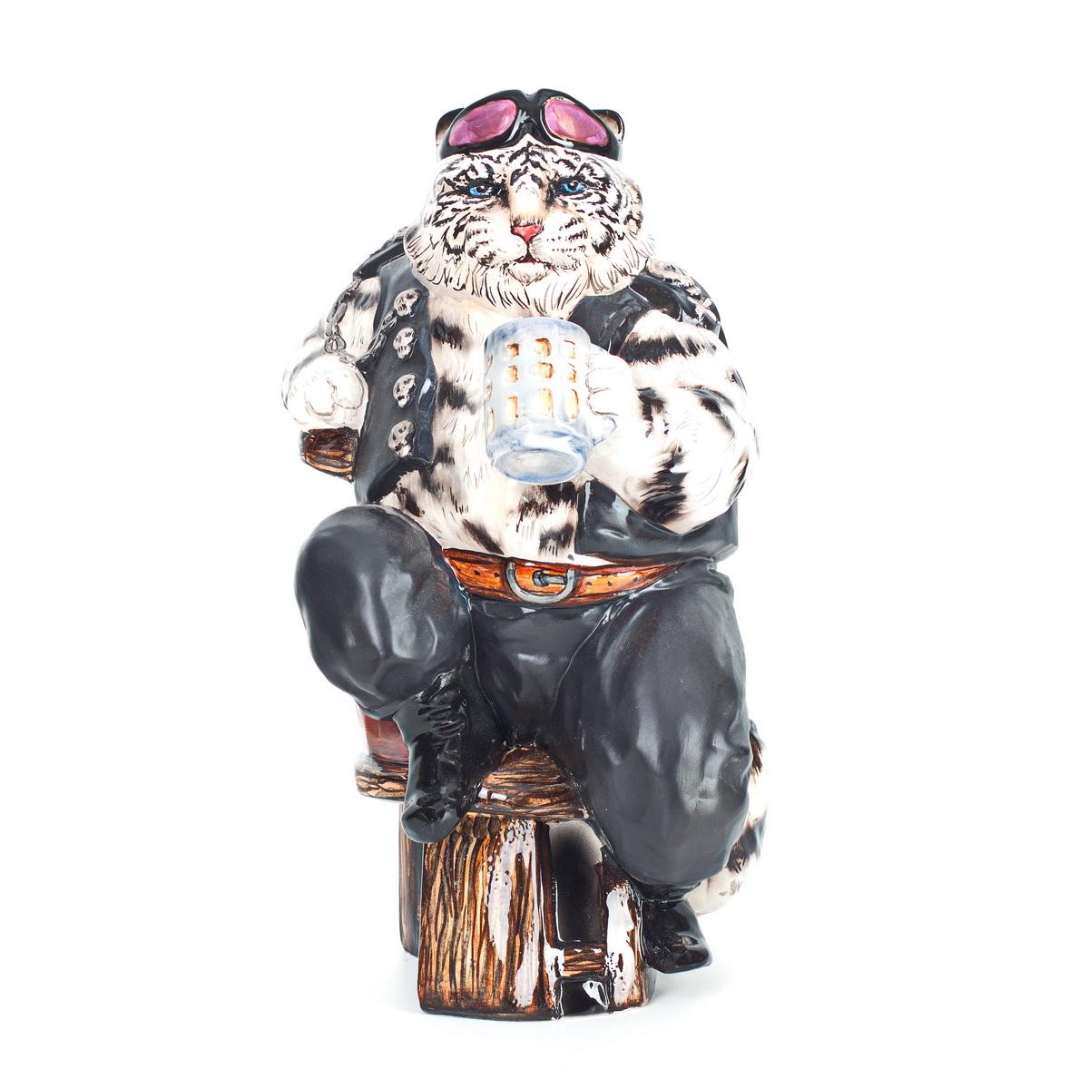 Керамическая статуэтка Белый тигр байкер. Авторская работа. ZORA. Россия. ZS-TIBW-28FO85003Керамическая статуэтка Белый тигр байкер. ZORA. Россия. Керамика Zora, ручная работа, ручная роспись, три обжига, смешанная техникаглазури, платина 13 %, драг, содержащий люстр на очках. Размер: 28 х 18 см. Сохранность хорошая. Внимание! Лимитированная серия! Отличный подарок для мужчины! Брутальный белый тигр - любитель красивыхженщин, пива и гонок. Три обжига, использование 13% платины на деталях одежды. Драгосодержащийлюстр на очках. Одежда полностью имитирует кожу.Эта статуэтка вызовет улыбку, поднимет настроение и украсит любой интерьер.