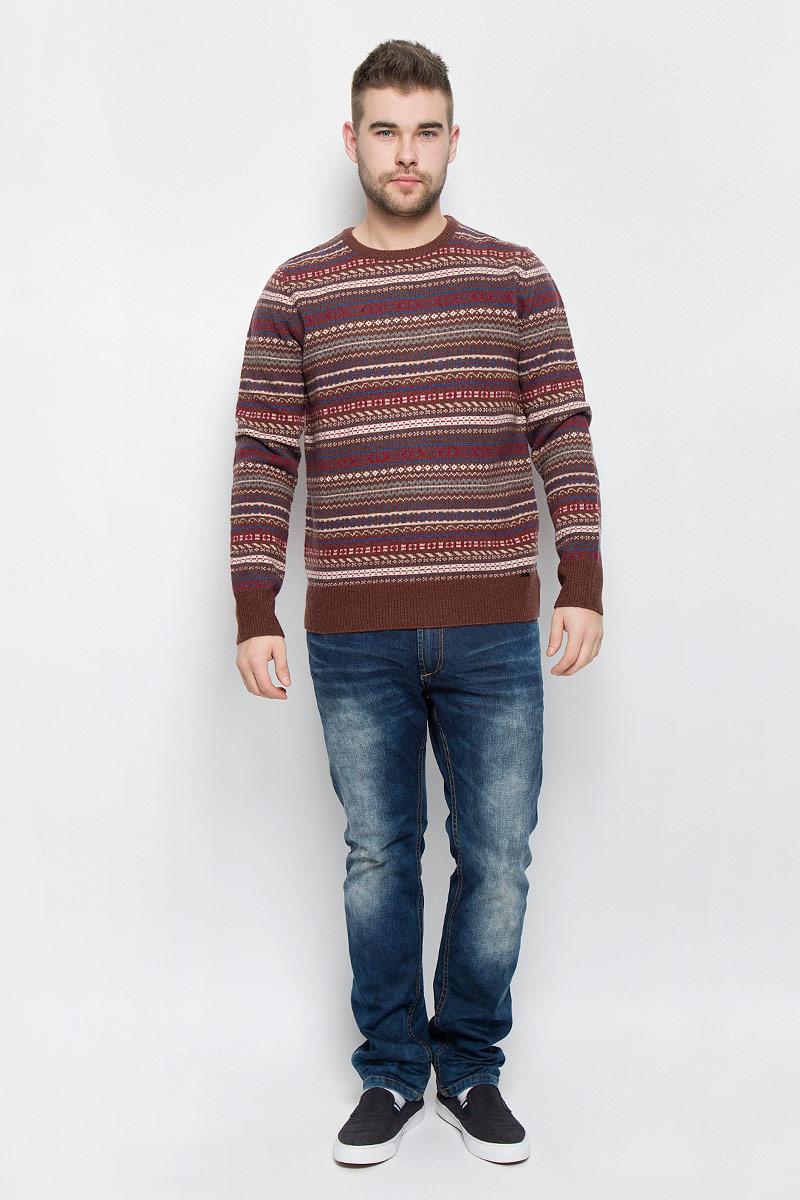 Джемпер мужской Finn Flare, цвет: коричневый, мультиколор. W16-22104_611. Размер S (46) кардиган мужской finn flare цвет темно синий бежевый w16 22107 101 размер s 46