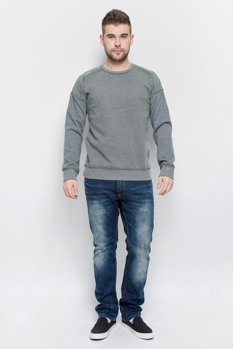 Свитшот мужской Broadway, цвет: серый меланж. 20100260_833. Размер XXL (54) куртка мужская broadway noam цвет черный 20100303 размер xxl 54