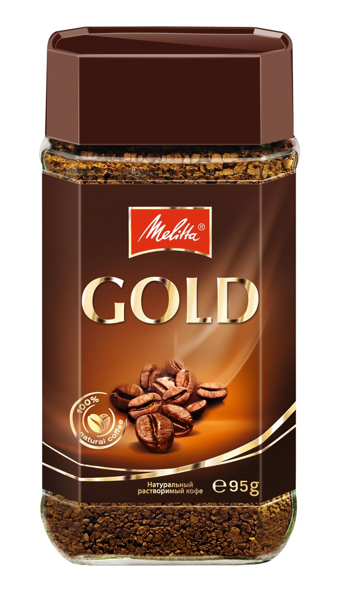 Melitta Gold кофе растворимый сублимированный, 95 г кофе черный парус сублимированный 85г