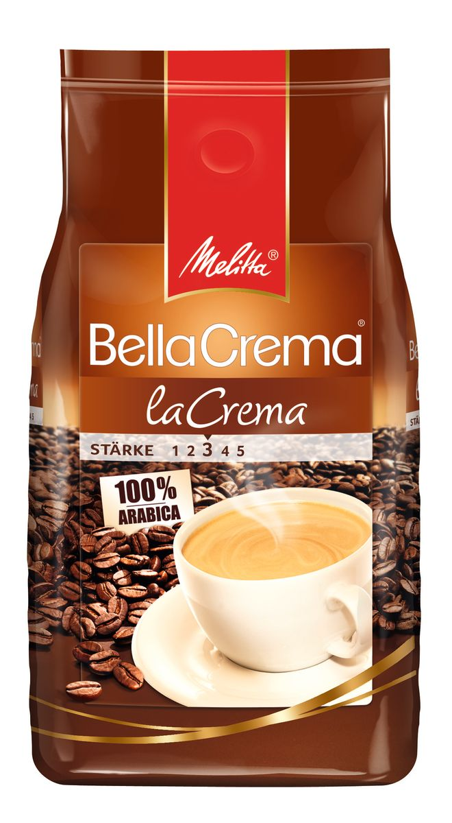Melitta BellaCrema LaCrema кофе в зернах, 1 кг00810100% Арабика Мягкий, ароматный кофе Кремовый вкус и легкая пенкаИдеально сочетается с десертамиМягкая упаковка с клапаномПредназначен для приготовления кофе в кофеварках и кофемашинахМожно молоть вручную и варить в туркеКофе: мифы и факты. Статья OZON Гид