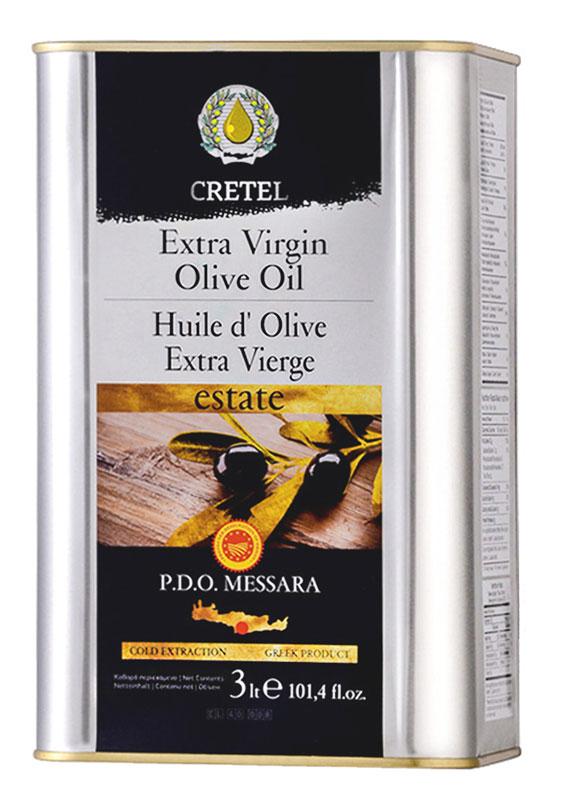 Cretel Extra Virgin масло оливковое P.D.O. Messara, 3 л16011Estate P.D.O. Messara (Protected designation of origin) — это уникальный объект авторского права, который закрепляет за производителем права гарантированный регион производства, несет на упаковке информацию о конкретном районе производства, в нашем случае, в районе Мессара, на острове Крит, Греция. Оливки были выращены, собраны и отжаты в масло полностью в определенном географическом регионе. Весь процесс изготовления этого масла, как говорилось выше, производится на месте сбора сырья. Маркировка дает гарантию потребителю, что масло не является ни в коем случае смесью масел. Один из главных показателей качества оливкового масла – кислотность, в оливковом масле Cretel Extra Virgin она не превышает 0,6%. Присутствие легкой горечи, в масле, говорит только о высшем качестве и о том, что в его приготовлении не использовались ни какие химикаты и примеси для улучшения вкуса.Масла для здорового питания: мнение диетолога. Статья OZON Гид