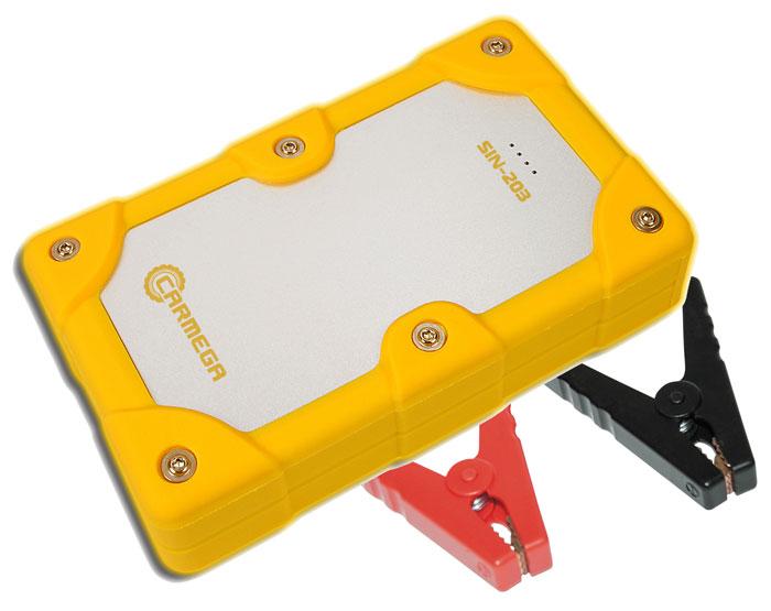 Carmega SIN-203 пускозарядное устройствоCARMEGA SIN203Компактное мощное пускозарядное устройство Carmega SIN-203способно обеспечить запуск малолитражных автомобилей с бензиновыми двигателями и мототехники с напряжением бортовой сети 12 В. Устройство готово к использованию сразу после покупки.Светодиодный индикатор на лицевой панели CARMEGA SIN-203 позволяет отслеживать уровень заряда устройства. Встроенный двухцветный индикатор силовых клемм позволяет отследить работу устройства, продиагностировать АКБ автомобиля и предотвратить неправильное подключение.Встроенная подсветка силовых клемм упрощает подключение в темное время суток. Carmega SIN-203 отличается компактными размерами и оригинальным внешним видом. Прорезиненный корпус с металлической вставкой обеспечивает надёжную защиту от брызг и устойчивость к механическим воздействиям.Модель комплектуется кабелем USB/micro USB для подключения портативных устройств с напряжением питания 5 В и током потребления до 2,1 А.Номинальный пусковой ток: 200 А Пиковый пусковой ток: 400 А Емкость: 30 Вт*ч Выход USB для подключения портативных устройств: 5 В/2,1 А Вход microUSB для заряда встроенных аккумуляторов: 5 В/1 АЗащита от короткого замыкания Защита от неправильного подключения Защита от обратного тока Защита от перегрузки Температура работы: от +10 °С до + 30 °С Допустимая кратковременная температура применения: от -20 °С до + 60 °С