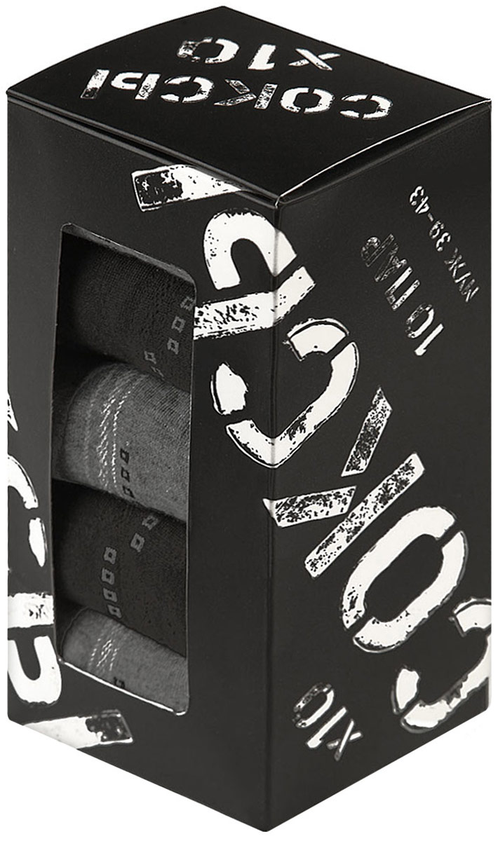 Комплект носков мужских Соксы, цвет: черный, серый, 10 пар. 021. Размер 39/43 jd коллекция светло телесный 12 пар носков 15d две кости размер