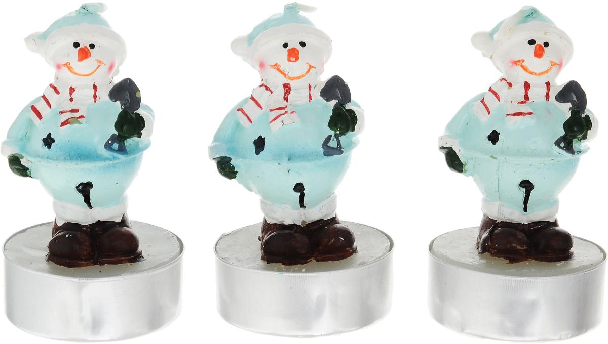 Набор свечей Winter Wings Снеговики, высота 7 см, 3 шт набор свечей winter wings классика цвет голубой высота 25 см 4 шт