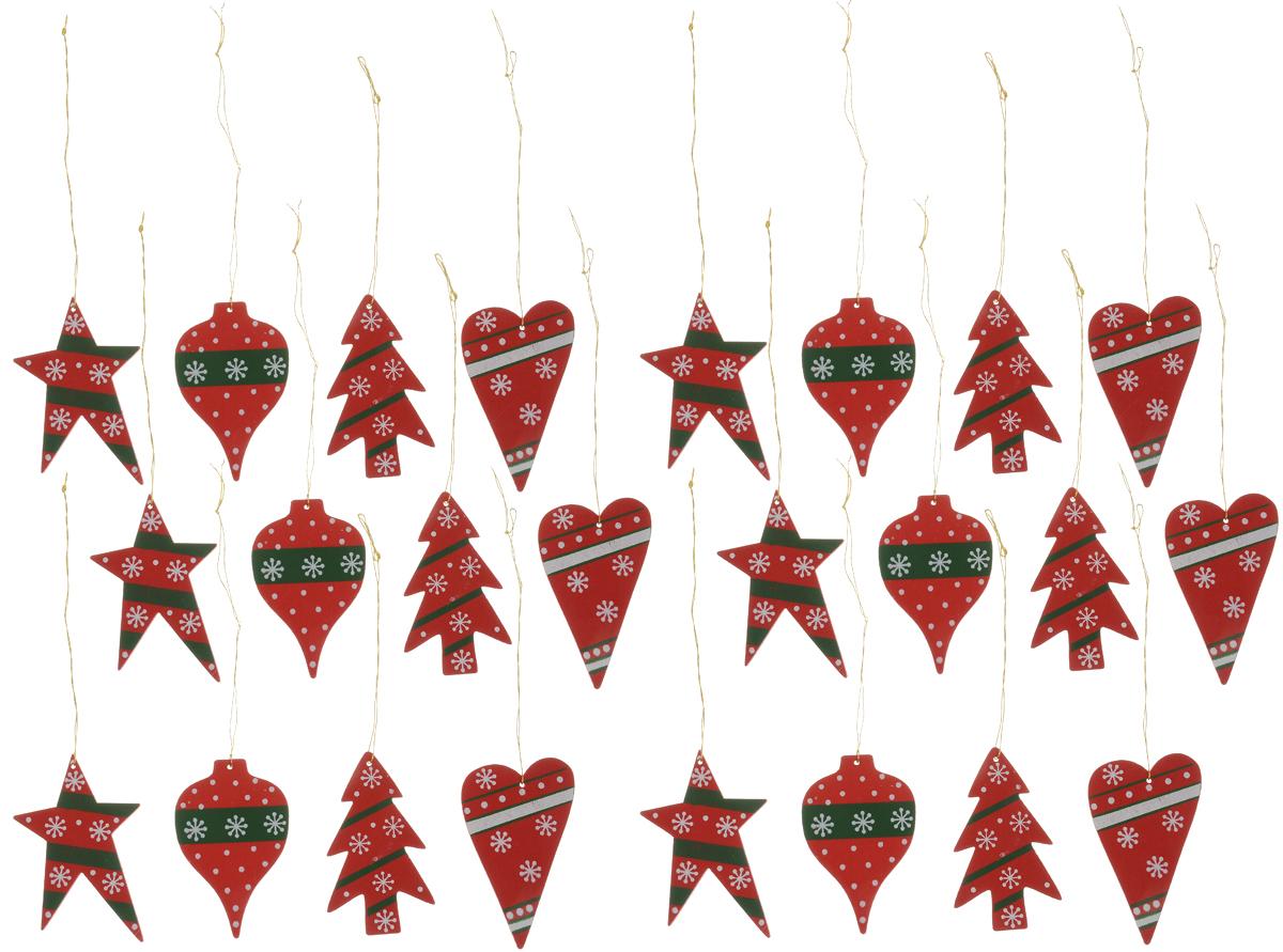 Набор елочных украшений Winter Wings Новый год, 24 штN181340Набор Winter Wings Новый год отлично подойдет для декора праздничной ели. В наборе 24 новогодние елочные игрушки, выполненные из дерева в форме шаров, ели, звезды, сердца с различным дизайном. Игрушки оснащены петельками для подвешивания. Елочная игрушка - символ Нового года. Она несет в себе волшебство и красоту праздника. Создайте в своем доме атмосферу веселья и радости, украшая новогоднюю елку нарядными игрушками, которые будут из года в год накапливать теплоту воспоминаний. Размер звезды: 6,5 х 4 см.Размер ели: 6 х 3,5 см.Размер сердца: 6 х 3,5 см.Размер шара: 6 х 3,5 см.