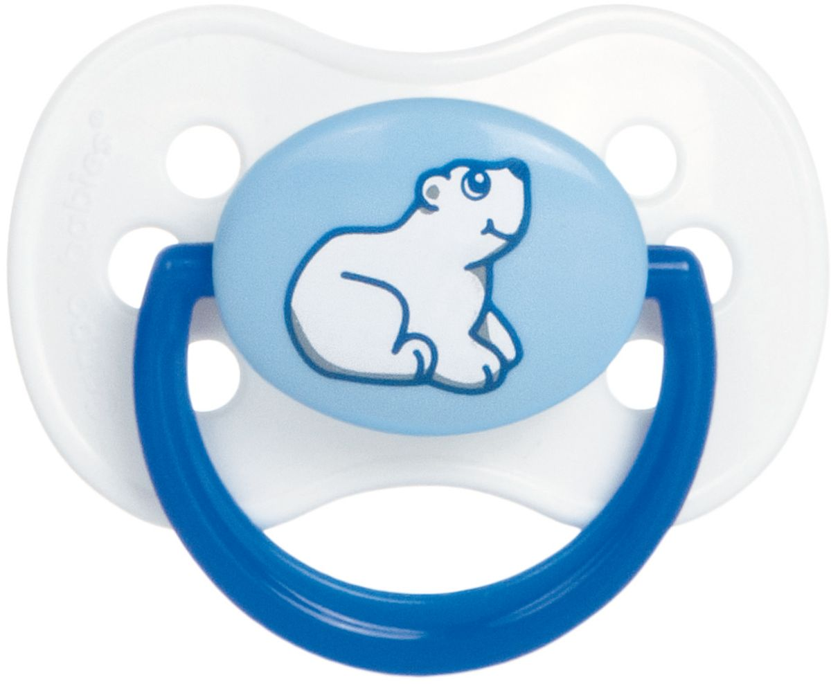 Canpol Babies Пустышка латексная Animals от 0 до 6 месяцев цвет белый синий