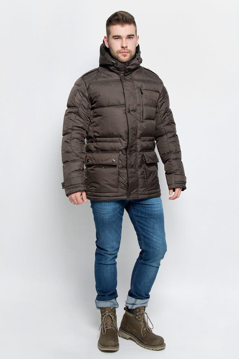 Куртка мужская Grishko, цвет: хаки. AL-2974. Размер 52AL-2974Мужская куртка Grishko изготовлена из высококачественного полиэстера. В качестве утеплителя и подкладки используется полиэфир.Куртка с воротником-стойкой и съемным капюшоном застегивается на застежку-молнию и дополнительно имеет ветрозащитную планку на кнопках. Капюшон дополнен эластичным шнурком со стоплерами и пристегивается к изделию за счет застежки-молнии. Низ рукавов дополнен хлястиками на кнопках. Спереди имеется два накладных кармана с клапанами на кнопках и прорезной карман на застежке-молнии, с внутренней стороны - два прорезных кармана на застежках-молниях. Модель оформлена металлической нашивкой в виде названия бренда.Теплоизоляция до -25°С.