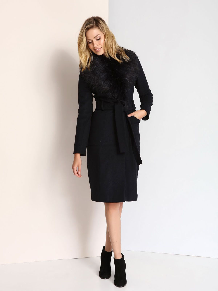 Пальто женское Top Secret, цвет: темно-синий. SPZ0351GR. Размер 42 (48)