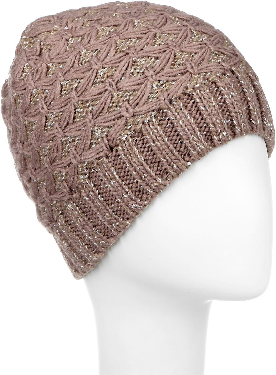 Шапка женская Snezhna, цвет: коричневый. SWH5973/2. Размер 56/58SWH5973/2Вязаная женская шапка Snezhna идеально подойдет для вас в холодное время года. Изготовленная из шерсти и полиамида с добавлением мохера, она мягкая и приятная на ощупь, обладает хорошими дышащими свойствами и максимально удерживает тепло. Подкладка шапки выполнена из мягкого теплого флиса. Модель плотно прилегает к голове, благодаря чему надежно защищает от ветра и мороза.Шапка оформлена вязаным узором, а также декорирована мелкими переливающимися пайетками и небольшой металлической пластиной с логотипом бренда.Такой стильный и теплый аксессуар дополнит ваш образ и подчеркнет индивидуальность!Уважаемые клиенты!Размер, доступный для заказа, является обхватом головы.