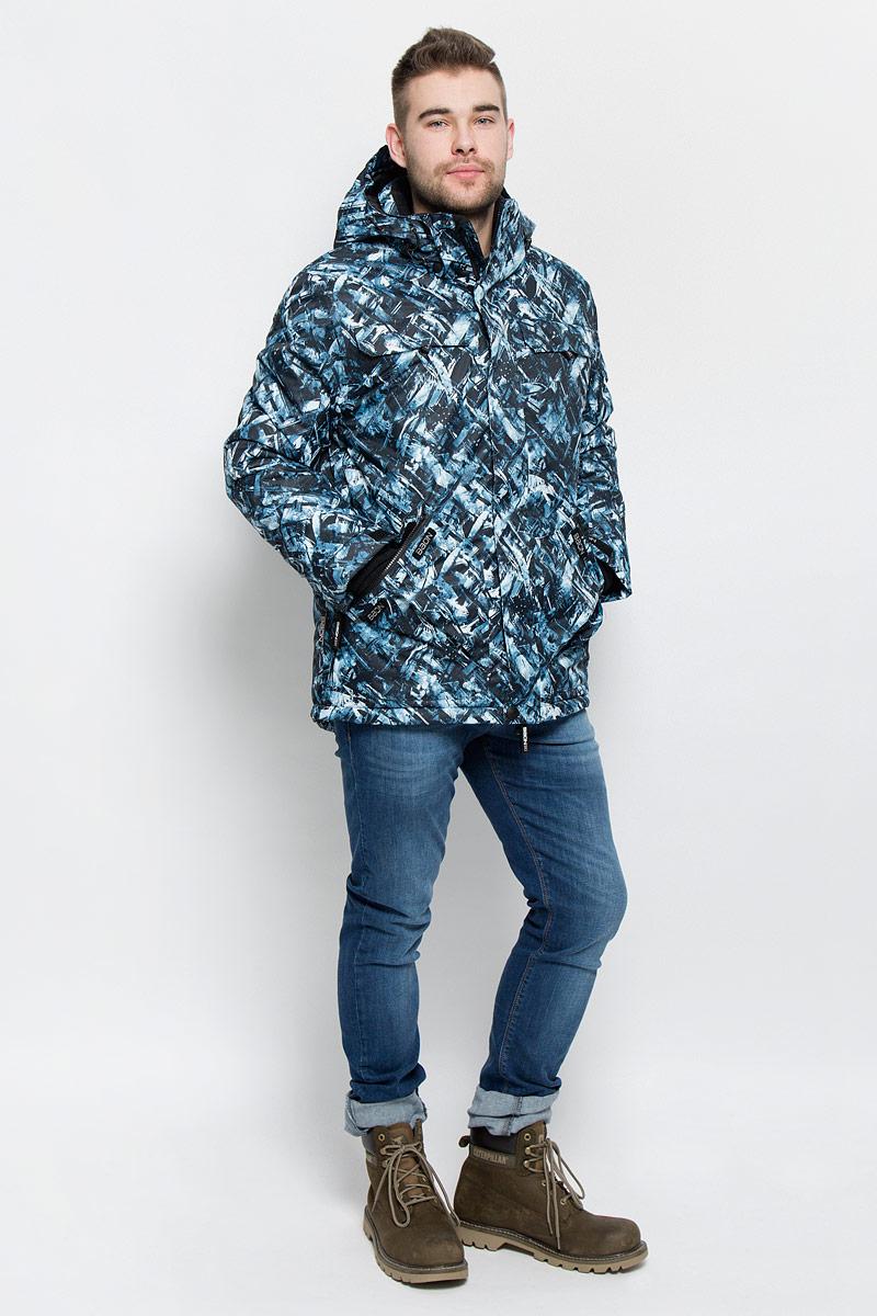Куртка мужская Baon, цвет: черный, серо-голубой. B536903. Размер XXL (54/56)B536903_BLACK PRINTEDМужская куртка Baon изготовлена из высококачественного полиэстера. В качестве утеплителя используется полиэстер.Куртка с воротником-стойкой и съемным капюшоном застегивается на застежку-молнию с защитой для подбородка и дополнительно имеет ветрозащитный клапан на липучках и кнопках. Капюшон оснащен эластичными шнурками со стопперами и пристегивается к куртке с помощью застежки-молнии. Низ рукавов дополнен хлястиками на липучках. Под рукавом расположена застежка-молния и сетчатый материал для дополнительной вентиляции. Низ изделия дополнен съемной ветрозащитной планкой на кнопках. Объем по низу регулируется с помощью эластичного шнурка со стоппером. Спереди имеются четыре прорезных кармана на застежках-молниях с клапанами на липучках, с внутренней стороны - прорезной карман на застежке-молнии и небольшой накладной карман-сетка и накладной карман на липучке. На левом рукаве расположен небольшой прорезной карман на застежке-молнии и накладной карман с клапаном на липучке. Куртка оформлена фирменными нашивками.