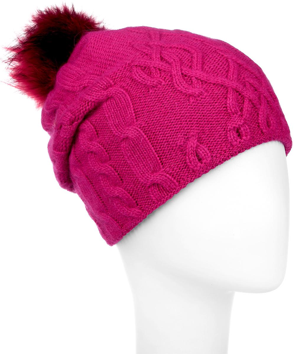 Шапка женская Marhatter, цвет: фуксия. MWH5602/3. Размер 56/58MWH5602/3Теплая женская шапка Marhatter отлично дополнит ваш образ в холодную погоду. Сочетание шерсти и акрила максимально сохраняет тепло и обеспечивает удобную посадку, невероятную легкость и мягкость. Подкладка выполнена из мягкого флиса.Удлиненная шапка выполнена вязкой с узорами. Макушка шапки дополнена пушистым помпоном из натурального меха песца.Модель составит идеальный комплект с модной верхней одеждой, в ней вам будет уютно и тепло.Уважаемые клиенты!Размер, доступный для заказа, является обхватом головы.