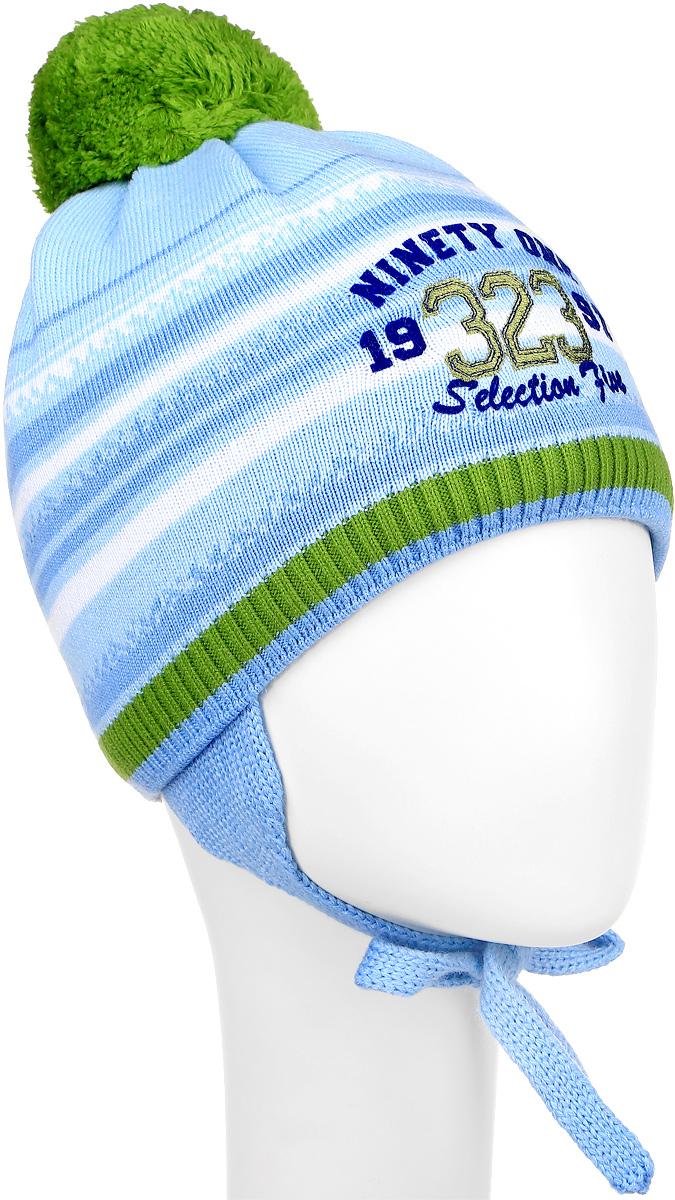 Шапка для мальчика ПриКиндер, цвет: светло-голубой, зеленый. M3719-22. Размер 52/54M3719-22Теплая детская шапка ПриКиндер отлично дополнит образ вашего ребенка в холодную погоду. Сочетание шерсти и акрила максимально сохраняет тепло и обеспечивает удобную посадку. Подкладка выполнена из натурального хлопка с добавлением лайкры. Шапка оформлена интересным принтом и надписями. По бокам модель немного удлинена и имеет завязки на шнурочках, а на макушке дополнена пушистым помпоном.Уважаемые клиенты!Размер, доступный для заказа, является обхватом головы.