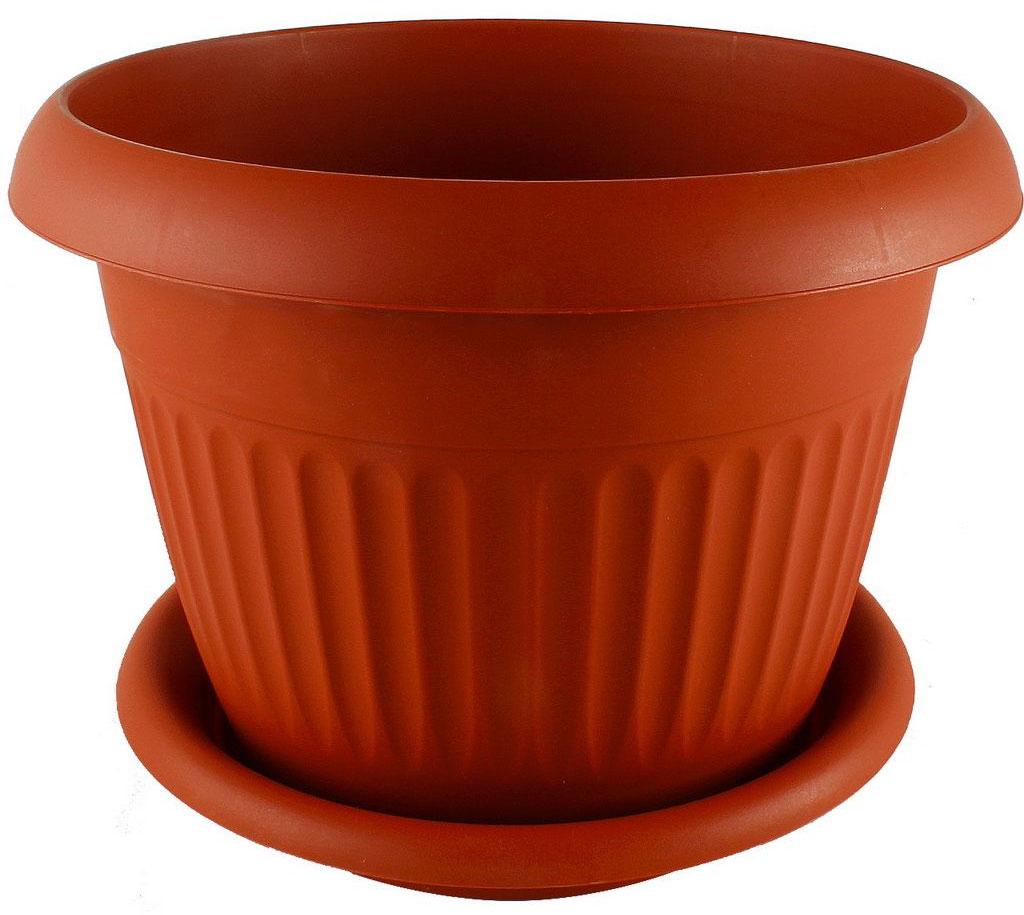 Кашпо Idea Ливия, с поддоном, цвет: терракотовый, 26 лМ 3028Кашпо Idea Ливия изготовлено из прочного полипропилена (пластика) и предназначено для выращивания растений, цветов и трав в домашних условиях. Круглый поддон обеспечивает сток воды. Такое кашпо порадует вас функциональностью, а благодаря лаконичному дизайну впишется в любой интерьер помещения. Диаметр кашпо по верхнему краю: 42 см. Объем кашпо: 26 л.