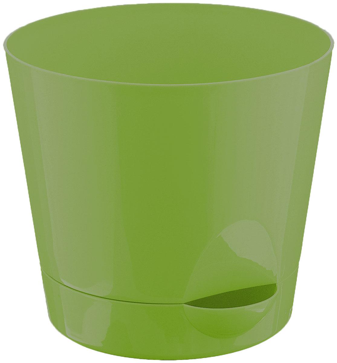 Кашпо Idea Ника, с прикорневым поливом, с поддоном, цвет: ярко-зеленый, 2,7 лМ 3073Кашпо Idea Ника изготовлено из высококачественного полипропилена (пластика). В комплект входит поддон со специальной выемкой, благодаря которому имеется возможность прикорневого полива. Изделие подходит для выращивания растений и цветов в домашних условиях. Стильная яркая картинка сделает такое кашпо прекрасным дополнением интерьера. Объем горшка: 2,7 л. Диаметр горшка (по верхнему краю): 18 см. Высота горшка: 16,5 см. Диаметр подставки: 15 см.