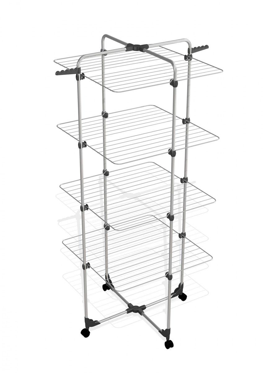 Сушилка для белья Gimi Modular 4, напольная, цвет: серебристый сушилка д белья gimi lift 160 9 5м настенно потолочная
