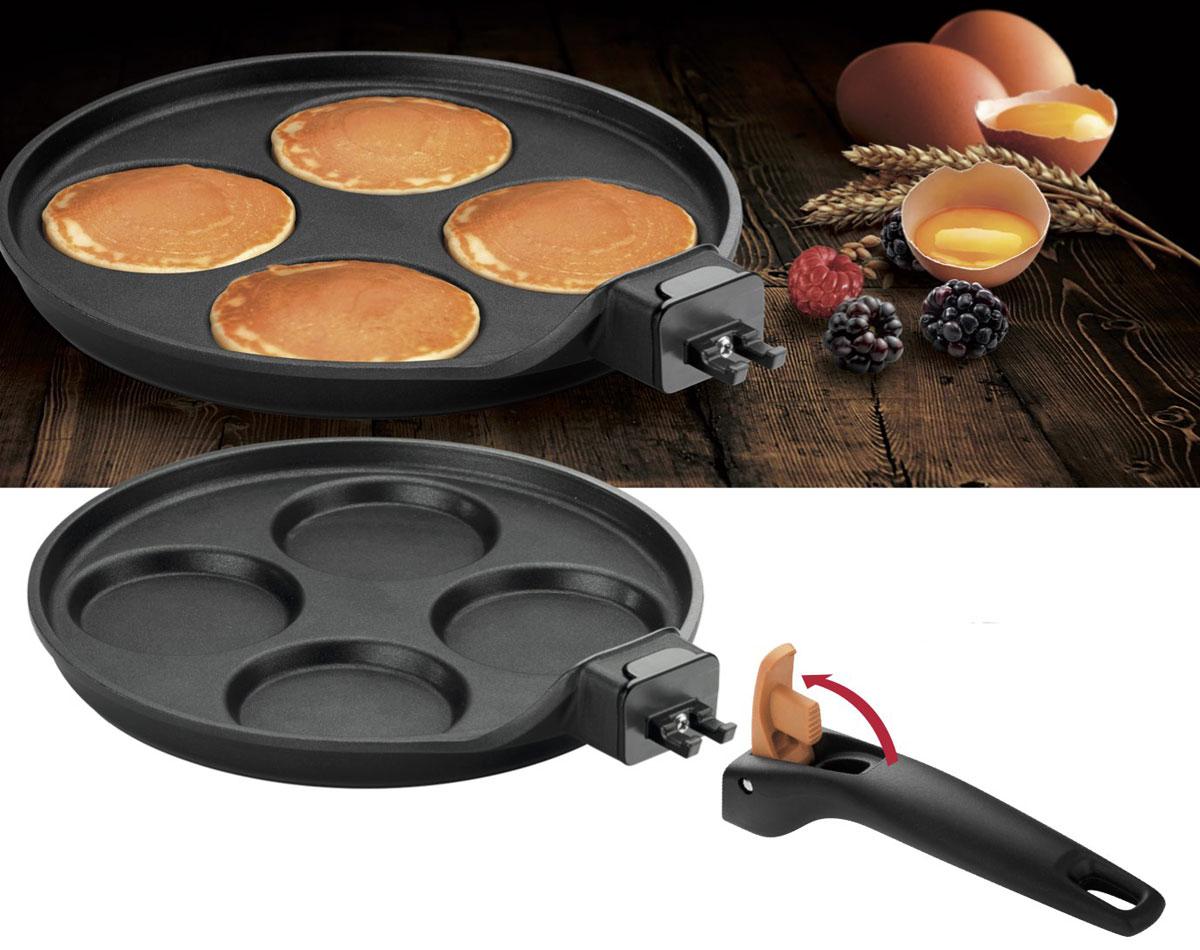 Сковорода для оладьев Tescoma Smart Click, с антипригарным покрытием, со съемной ручкой. Диаметр 24 смORCA-F24K Orange_оранжевыйСковорода Tescoma Smart Click, изготовленная из высококачественной нержавеющей стали, создана специально для приготовления 4 оладий одновременно. Каждый оладушек в такой сковороде получается как на подбор - идеально кругленький, румяный, аккуратный. Такие оладьи особенно хороши в подаче, политые медом или сметаной, сбрызнутые фруктовым сиропом или посыпанные сахарной пудрой.Благодаря антипригарному покрытию оладьи совершенно не прилипают к сковороде, а очистка станет легче. Съемная пластиковая ручка сковороды отлично экономит пространство.Подходит для всех видов плит, включая индукционных, а также конвекторных печей (без использования ручки). Пригодна для мытья в посудомоечной машине. Диаметр сковороды по верхнему краю: 24 см.Высота стенки: 3 см. Простой рецепт блинов на Масленицу – статья на OZON Гид.
