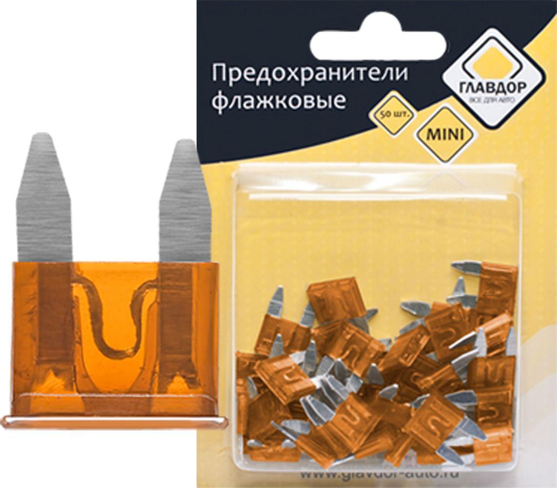 Предохранители Главдор Mini, флажковые, 7,5 А, 50 шт. GL-216GL-216Флажковые предохранители Главдор Mini стандартного типа, изготовленные из металла и пластика, предназначены для защиты электросети автомобиля. В набор входят 50 предохранителей напряжением 7,5 А.Предохранители надежны и безопасны, а качественная упаковка обеспечивает удобство хранения.