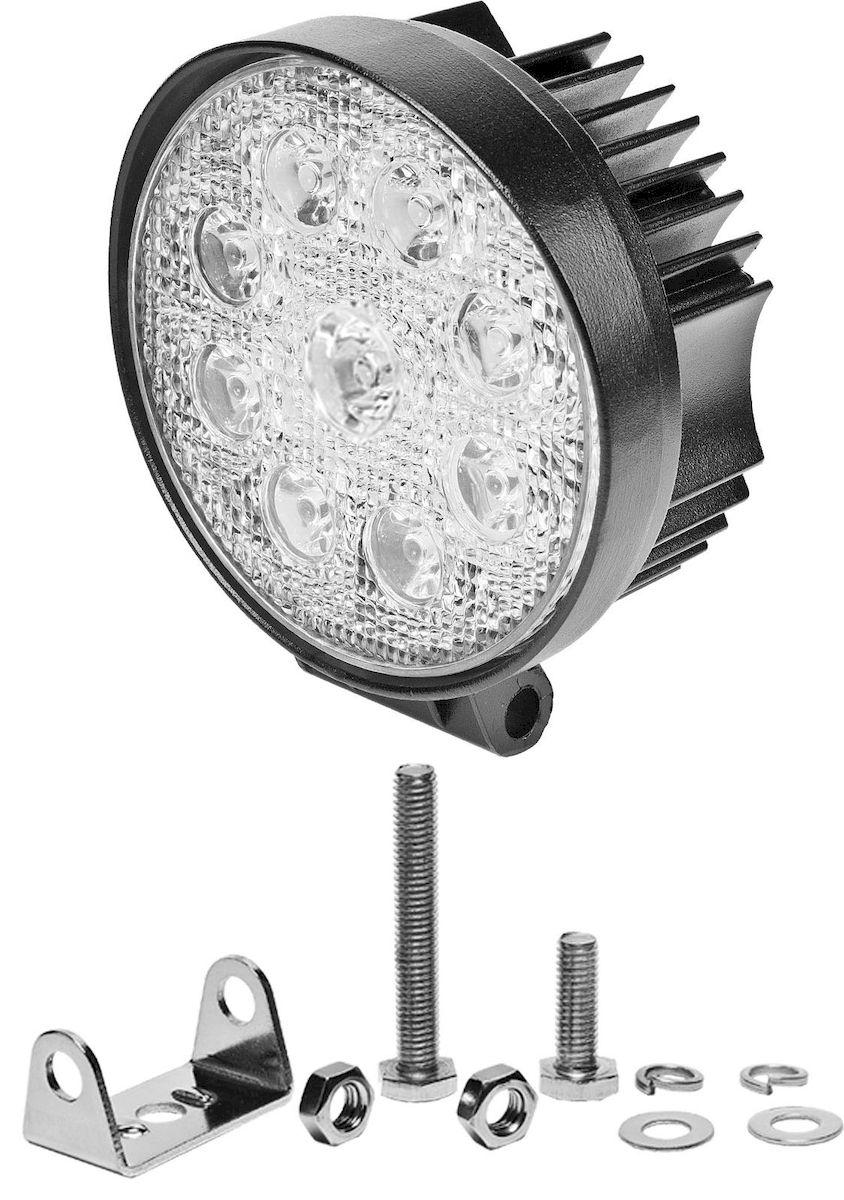 Фара светодиодная Главдор SPOT-R 27W, дополнительная, 9 диодов, 12/24В. GL-407GL-407Круглая светодиодная фара Главдор SPOT-R 27W - дополнительный источник освещения в металлическом корпусе, на основе девяти светодиодных источников света (диодов). В комплекте имеется крепление для установки.