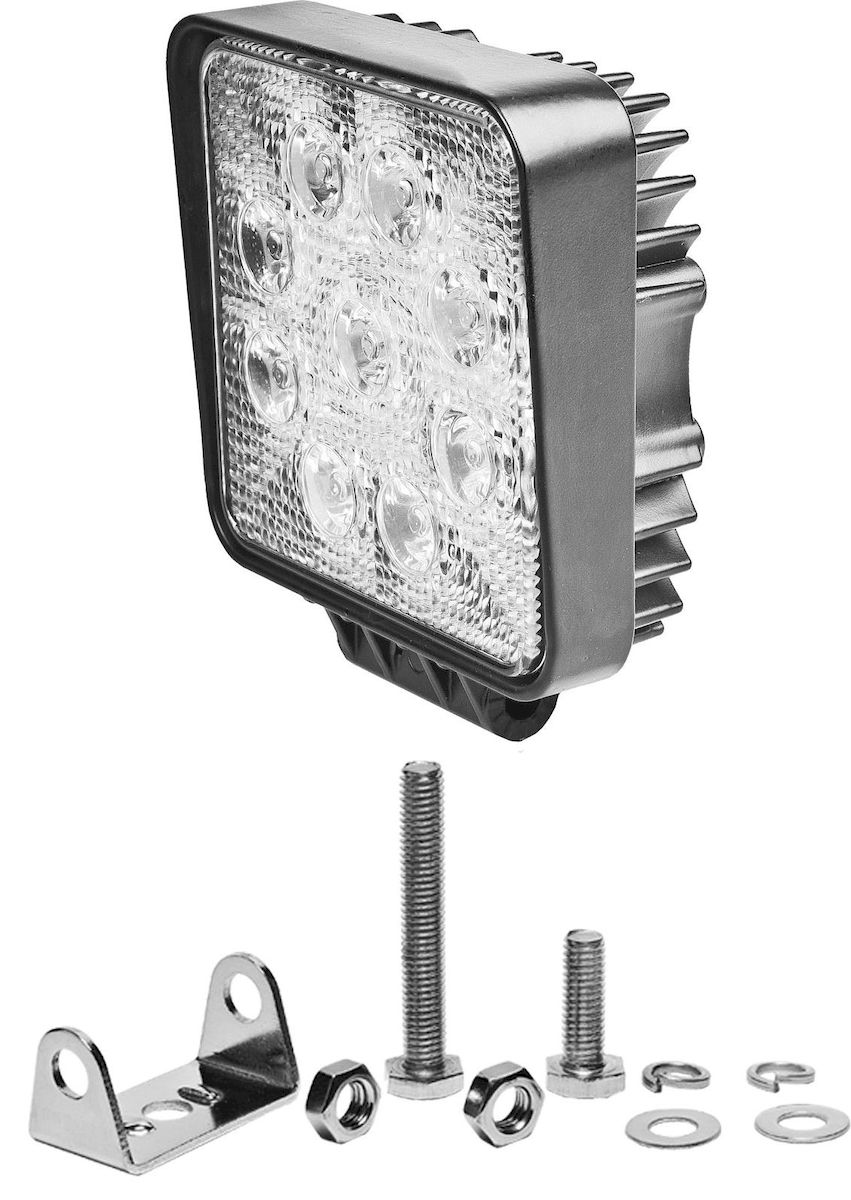 Фара светодиодная Главдор SPOT-S 27W, дополнительная, 9 диодов, 12/24В. GL-408GL-408Круглая светодиодная фара Главдор SPOT-S 27W - дополнительный источник освещения в металлическом корпусе, на основе девяти светодиодных источников света (диодов). В комплекте имеется крепление для установки.