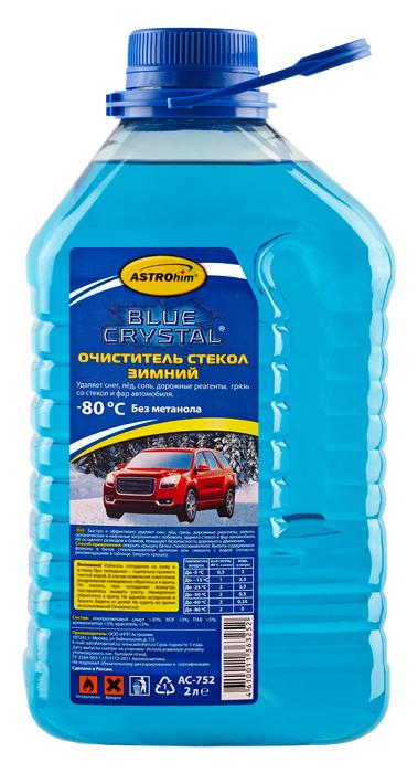 Очиститель стекол зимний Astrohim, до -80°, 2000 млАС-752Зимний стеклоочиститель серии Blue Crystal® – высококачественный препарат для очистки лобового, боковых и задних стекол, а также фар. Разработан на основе абсолютированного изопропилового спирта специально для использования при отрицательных температурах окружающего воздуха.Зимний стеклоочиститель серии Blue Crystal® торговой марки ASTROhim® предназначен для стеклоомывателей российских и иностранных автомобилей всех марок. Не содержит метанол, что гарантирует безопасность для здоровья водителя и пассажиров!