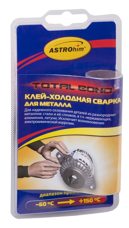 Клей-холодная сварка ASTROhim, для металла, 55 гАС-9311Клей для металла ASTROhim со специальным наполнителем предназначен для быстрого и надежного склеивания, ремонта, герметизации соединений, а также для восстановления утраченных фрагментов изделий из разнородных металлов: стали и ее сплавов, в том числе нержавеющих, алюминия, латуни. Исключает возникновение электрохимической коррозии на границе склеивания металлов. Температура эксплуатации отремонтированных изделий от -60°С до +150°С. Обеспечивает надежный ремонт на влажных и замасленных поверхностях, при низких (до -10°С) температурах (при условии замешивания смеси в теплом помещении). Товар сертифицирован.
