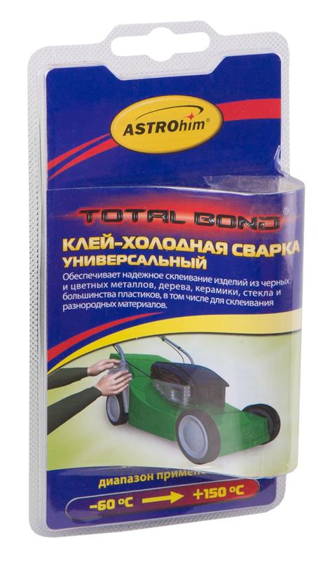 Клей-холодная сварка ASTROhim, универсальный, 55 гАС-9317Клей-холодная сварка ASTROhim предназначен для надежного склеивания изделий из черных и цветных металлов, дерева, керамики, стекла и большинства пластиков, в том числе в комбинациях между собой. Применяется также для восстановления утраченных фрагментов изделий из вышеперечисленных материалов, работающих при температурах от -60°С до +150°С. Обеспечивает надежный ремонт на влажных и замасленных поверхностях, при низких температурах (до -10°С), при условии замешивания смеси в теплом помещении. Товар сертифицирован.