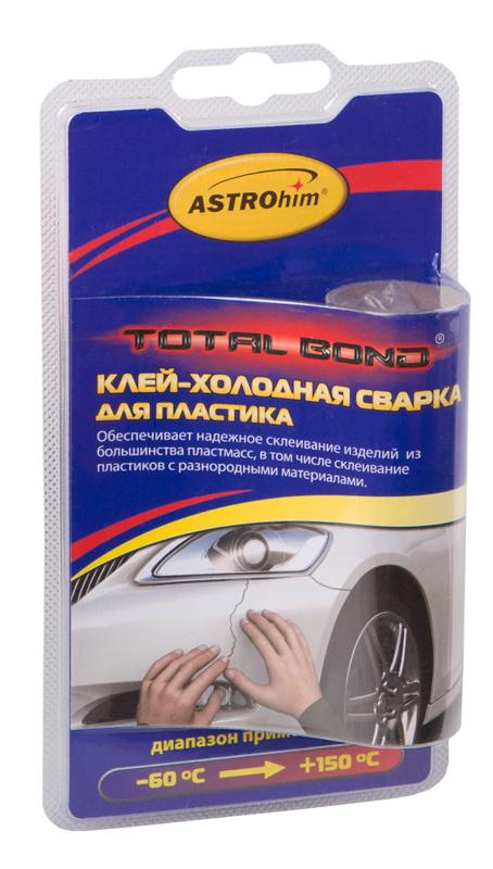 Клей-холодная сварка ASTROhim, для пластика, 55 гАС-9321Клей-холодная сварка ASTROhim предназначен для быстрого и надежного ремонта пластиковых бамперов, аккумуляторов, воздуховодов и других деталей из большинства пластмасс (кроме полиэтилена, полипропилена и фторопласта), в том числе для склеивания пластиков с разнородными материалами. Температурный диапазон использования отремонтированных деталей от -60°С до +150°С. Товар сертифицирован.