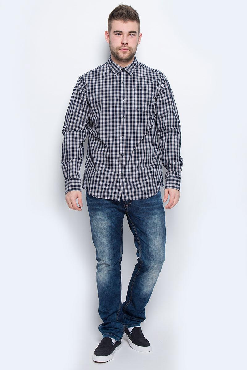 Рубашка мужская Broadway, цвет: темно-синий, белый. 20100438_886. Размер S (46) юбка broadway broadway br004ewccov2