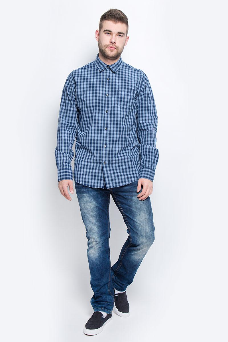 Рубашка мужская Broadway, цвет: голубой, темно-синий. 20100438_574. Размер S (46)
