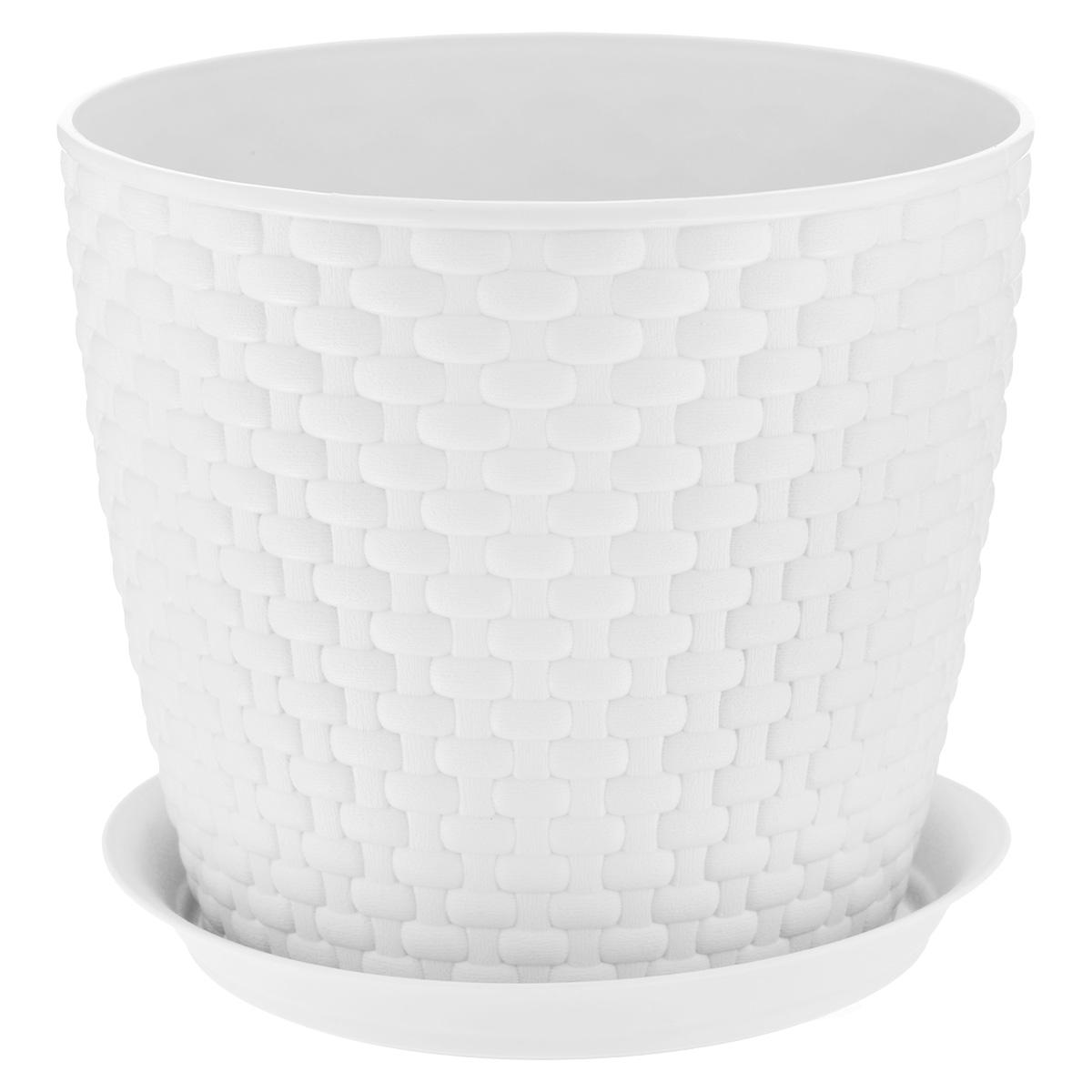 Кашпо Idea Ротанг, с поддоном, цвет: белый, 4,7 лМ 3083Кашпо Idea Ротанг изготовлено из высококачественного пластика. Специальный поддон предназначен для стока воды. Изделие прекрасно подходит для выращивания растений и цветов в домашних условиях. Лаконичный дизайн впишется в интерьер любого помещения. Диаметр поддона: 19,5 см. Объем кашпо: 4,7 л.Диаметр кашпо по верхнему краю: 21 см.Высота кашпо: 18 см.