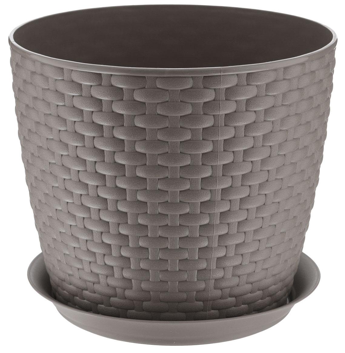 Кашпо Idea Ротанг, с поддоном, цвет: коричневый, 4,7 лМ 3083Кашпо Idea Ротанг изготовлено из высококачественного пластика. Специальный поддон предназначен для стока воды. Изделие прекрасно подходит для выращивания растений и цветов в домашних условиях. Лаконичный дизайн впишется в интерьер любого помещения. Диаметр поддона: 19,5 см. Объем кашпо: 4,7 л.Диаметр кашпо по верхнему краю: 21 см.Высота кашпо: 18 см.