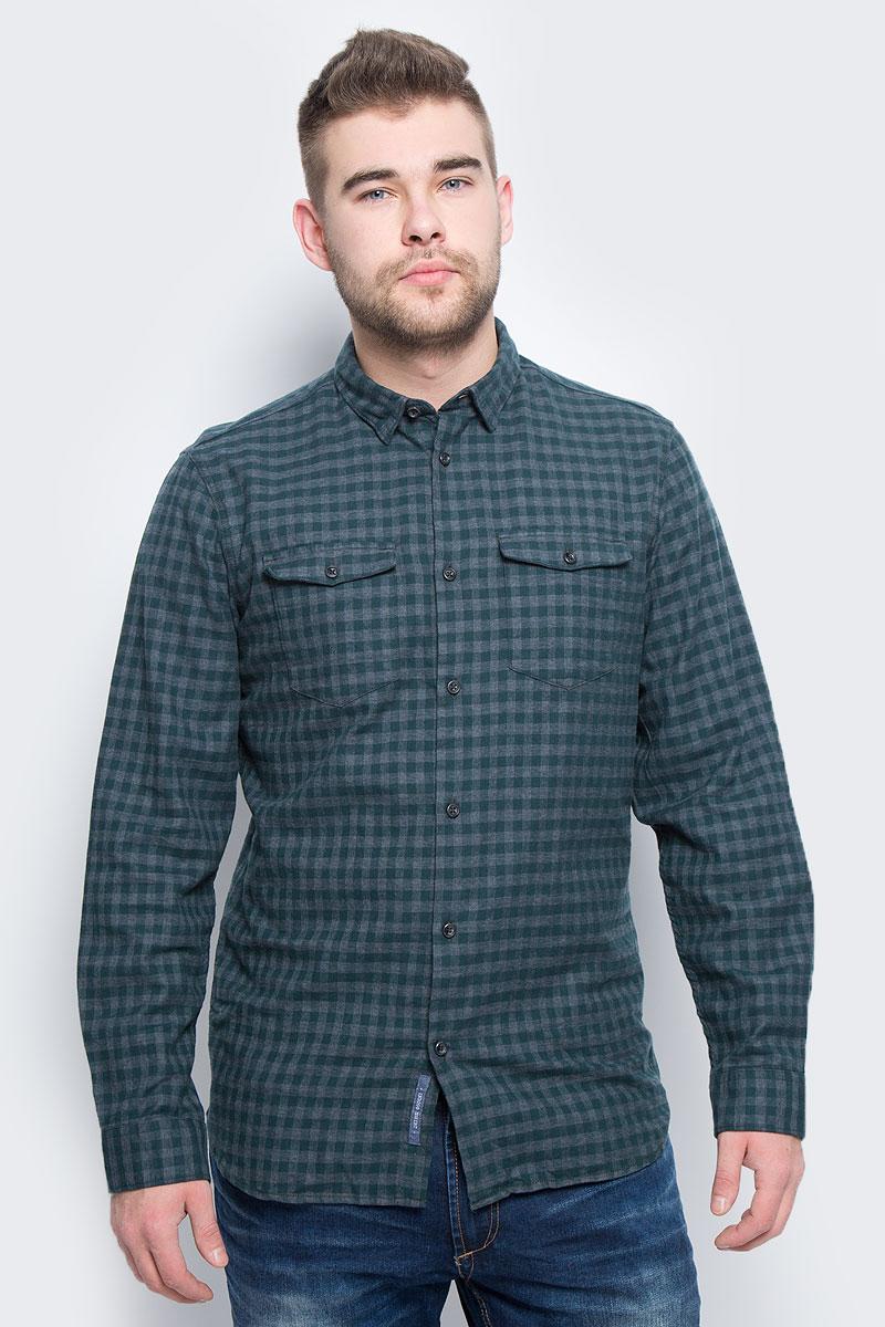 Рубашка мужская Selected Homme, цвет: серый, темно-зеленый. 16053328. Размер XL (50) футболка мужская selected