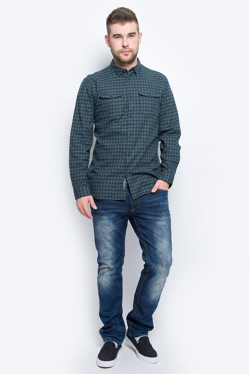 Рубашка мужская Selected Homme, цвет: серый, темно-зеленый. 16053328. Размер XXL (52) водолазка мужская selected homme identity цвет молочный 16052854 размер xl 50
