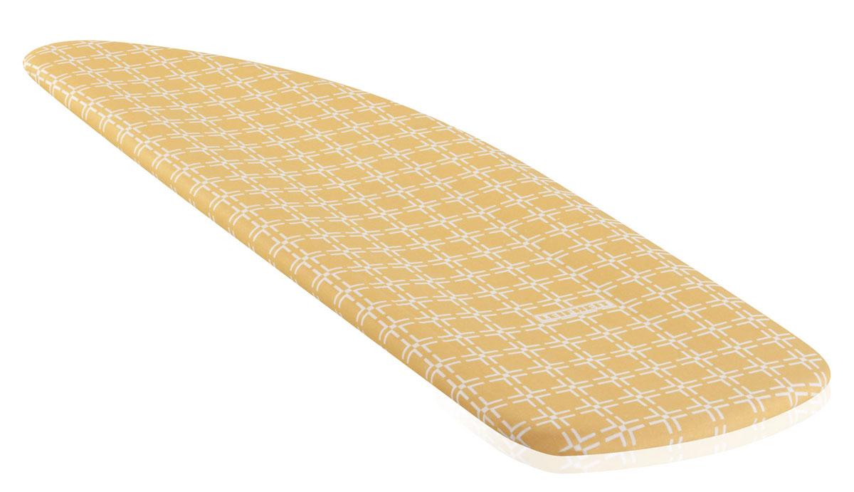 Чехол для гладильной доски Leifheit Dressfix XL, на веревке, цвет: оранжевый, белый, 140 х 40 см. 7232872328_оранжевый, белыйХлопчатобумажный чехол Leifheit Dressfix XL отличается особой конфигурацией, соответствующей формам доски для глажки большого размера модели XL. Материал покрытия свободно пропускает микрочастицы влаги при использовании паровых утюгов, а прослойка из вспененного полиуретана обеспечивает особое удобство и высокое качество глажения. Для надежной фиксации на поверхности доски периметр покрытия оснащен затягивающимся шнуром. При выборе чехла учитывайте, что его размер должен быть больше размера покрытия доски минимум на 5 см. Рекомендуется заменять чехол не реже 1 раза в 3 года. Размер чехла: 140 х 40 см.