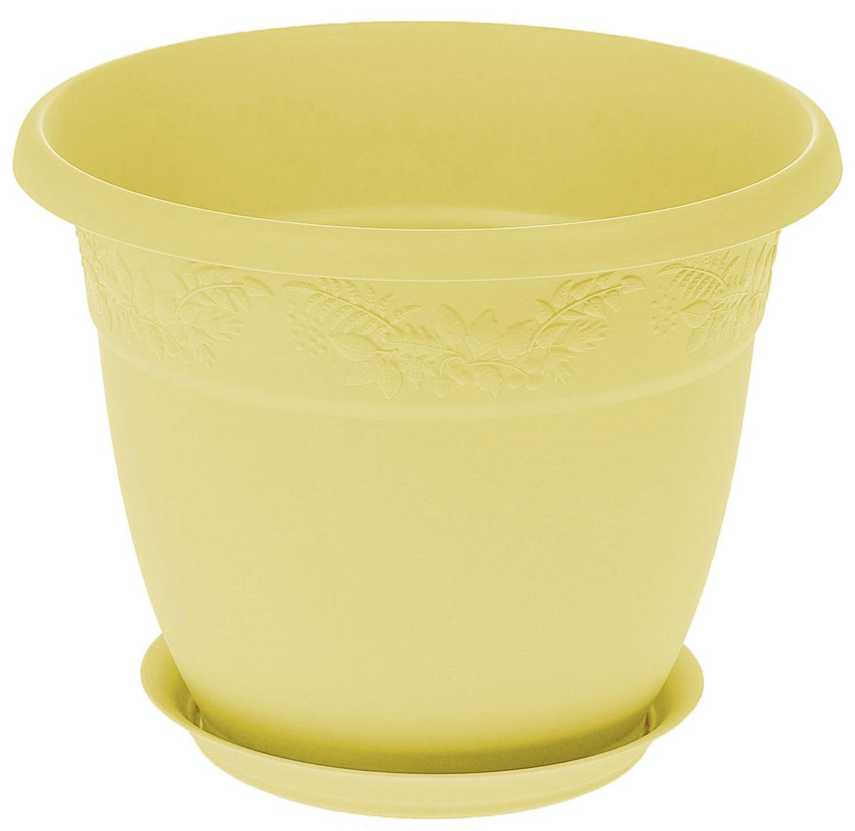 Кашпо Idea Рябина, с поддоном, цвет: банановый, 3,6 лМ 3055Кашпо Idea Рябина изготовлено из высококачественного полипропилена (пластика). Специальный поддон предназначен для стока воды. Изделие прекрасно подходит для выращивания растений и цветов в домашних условиях. Лаконичный дизайн впишется в интерьер любого помещения. Диаметр поддона: 15 см. Объем кашпо: 3,6 л.Диаметр кашпо по верхнему краю: 22 см.Высота кашпо: 17,5 см.