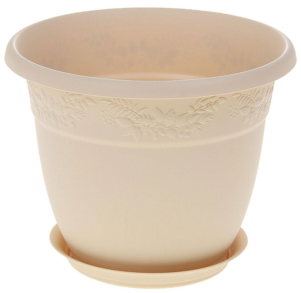 Кашпо Idea Рябина, с поддоном, цвет: белая глина, 3,6 лМ 3055Кашпо Idea Рябина изготовлено из высококачественного полипропилена (пластика). Специальный поддон предназначен для стока воды. Изделие прекрасно подходит для выращивания растений и цветов в домашних условиях. Лаконичный дизайн впишется в интерьер любого помещения. Диаметр поддона: 15 см. Объем кашпо: 3,6 л.Диаметр кашпо по верхнему краю: 22 см.Высота кашпо: 17,5 см.
