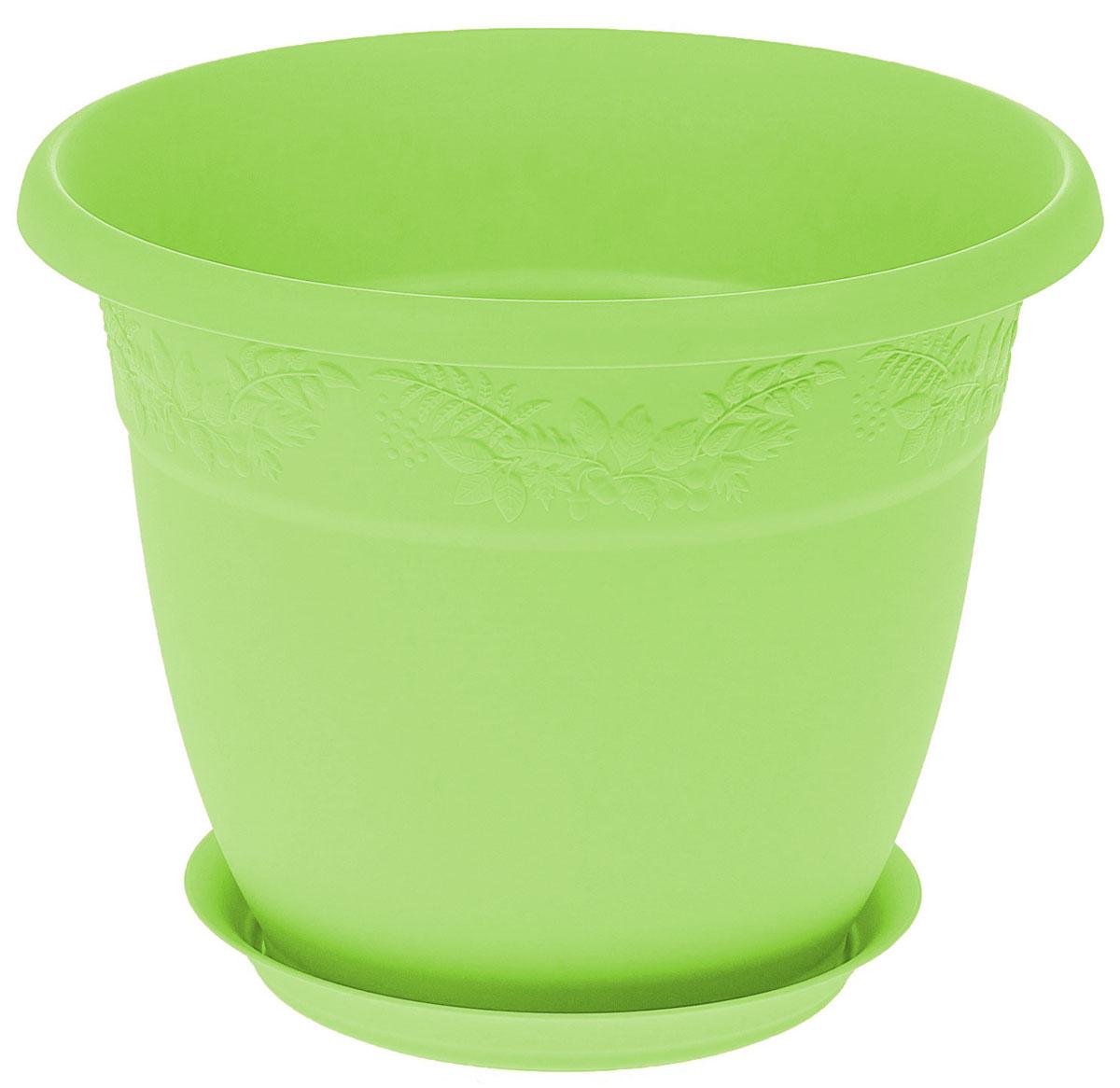 Кашпо Idea Рябина, с поддоном, цвет: мята, 3,6 лМ 3055Кашпо Idea Рябина изготовлено из высококачественного полипропилена (пластика). Специальный поддон предназначен для стока воды. Изделие прекрасно подходит для выращивания растений и цветов в домашних условиях. Лаконичный дизайн впишется в интерьер любого помещения. Диаметр поддона: 15 см. Объем кашпо: 3,6 л.Диаметр кашпо по верхнему краю: 22 см.Высота кашпо: 17,5 см.
