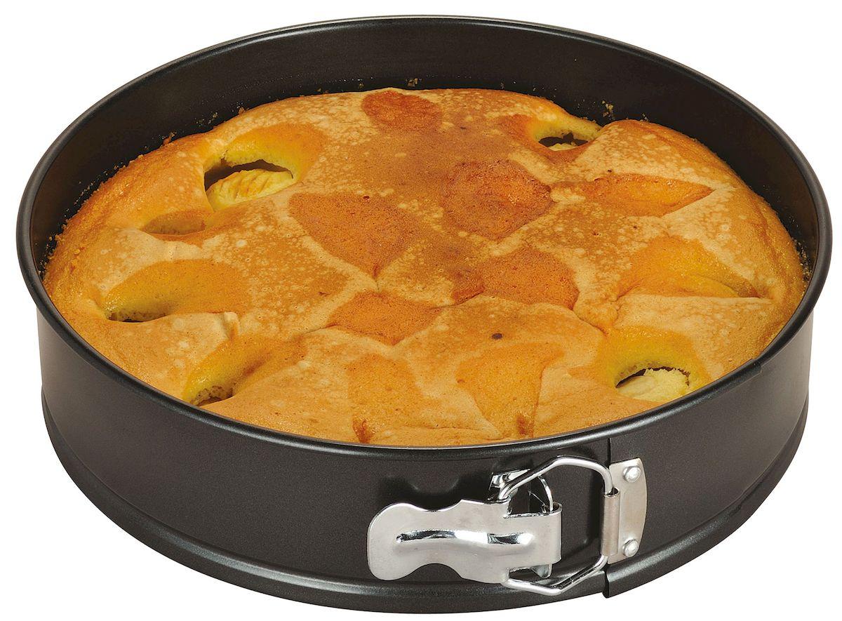 Форма для выпечки Axentia, круглая, с антипригарным покрытием, диаметр 26 см116693Круглая форма для выпечки Axentia выполнена из стали с антипригарным покрытием, что предотвращает прилипание пищи к стенкам. Форма имеет разъемный механизм, благодаря чему готовое блюдо очень легко достать из формы. Причем блюдо можно не перекладывать в сервировочную тарелку, а сразу подавать на стол. Такая форма значительно экономит время по сравнению с аналогичными формами для выпечки. С формой для выпечки Axentia готовить любимые блюда станет еще проще. Подходит для использования в духовом шкафу. Не предназначена для СВЧ-печей.Диаметр формы: 26 см.Высота стенки: 6,5 см.