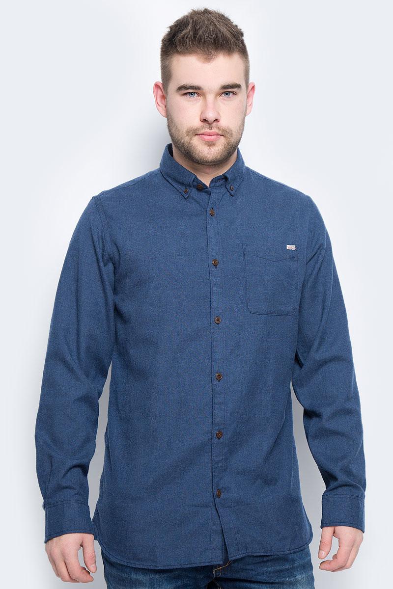 Рубашка мужская Jack & Jones, цвет: темно-синий. 12113437. Размер M (46)12113437_Total EclipseМужская рубашка Jack & Jones выполнена из полиэстера с добавлением вискозы. Рубашкас длинными рукавами и отложным воротником застегивается на пуговицы спереди. Манжеты рукавов также застегиваются на пуговицы. На груди расположен накладной карман.