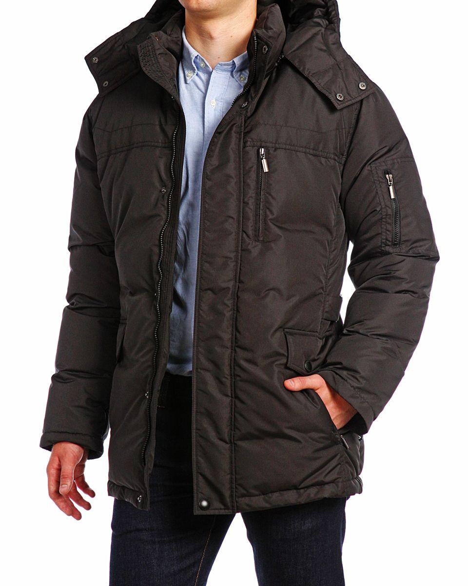 Пуховик мужской Xaska, цвет: чеpный. 15208. Размер 4815208_BlackКуртка пуховая удлиненная. Капюшон отстегивается (на молнии). Регулировка по низу куртки.